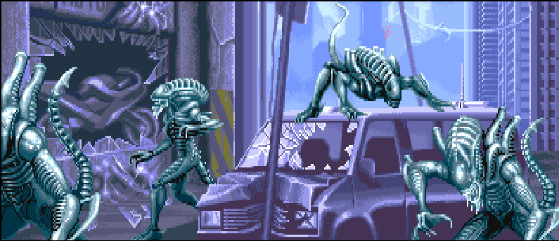 Aliens on Earth in the AvP Arcade Game