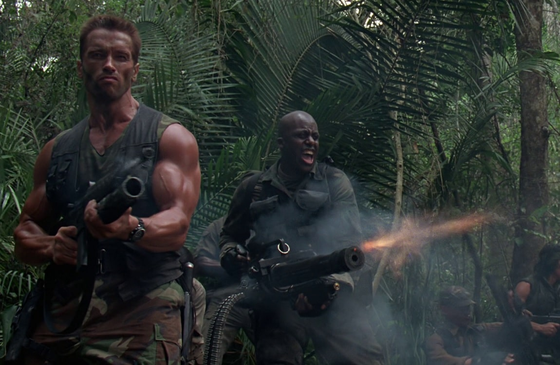 Dutch's squad fighting in the jungle in Predator